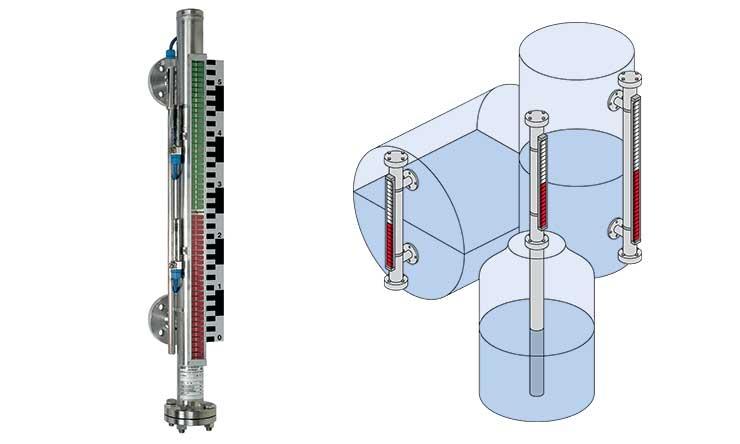 Elfordulólamellás mágneses szintjelző fénykép és séma
